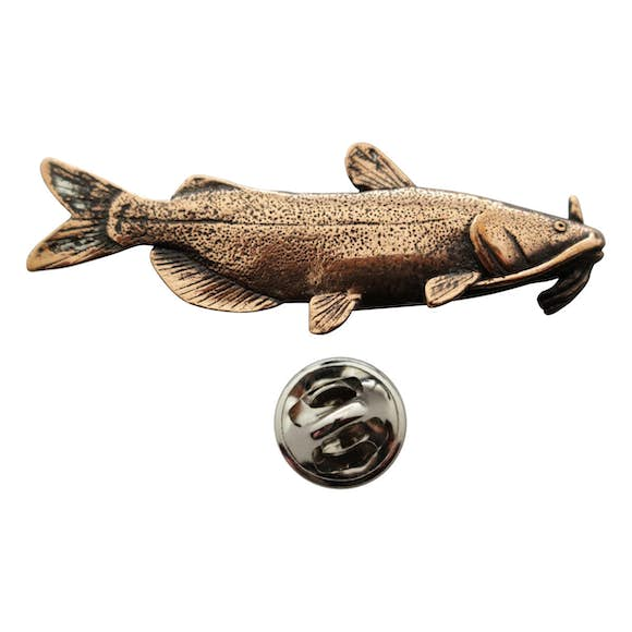 Channel Catfish Pin ~ Antiqued Copper ~ Lapel Pin ~ Sarah's Treats & Treasures