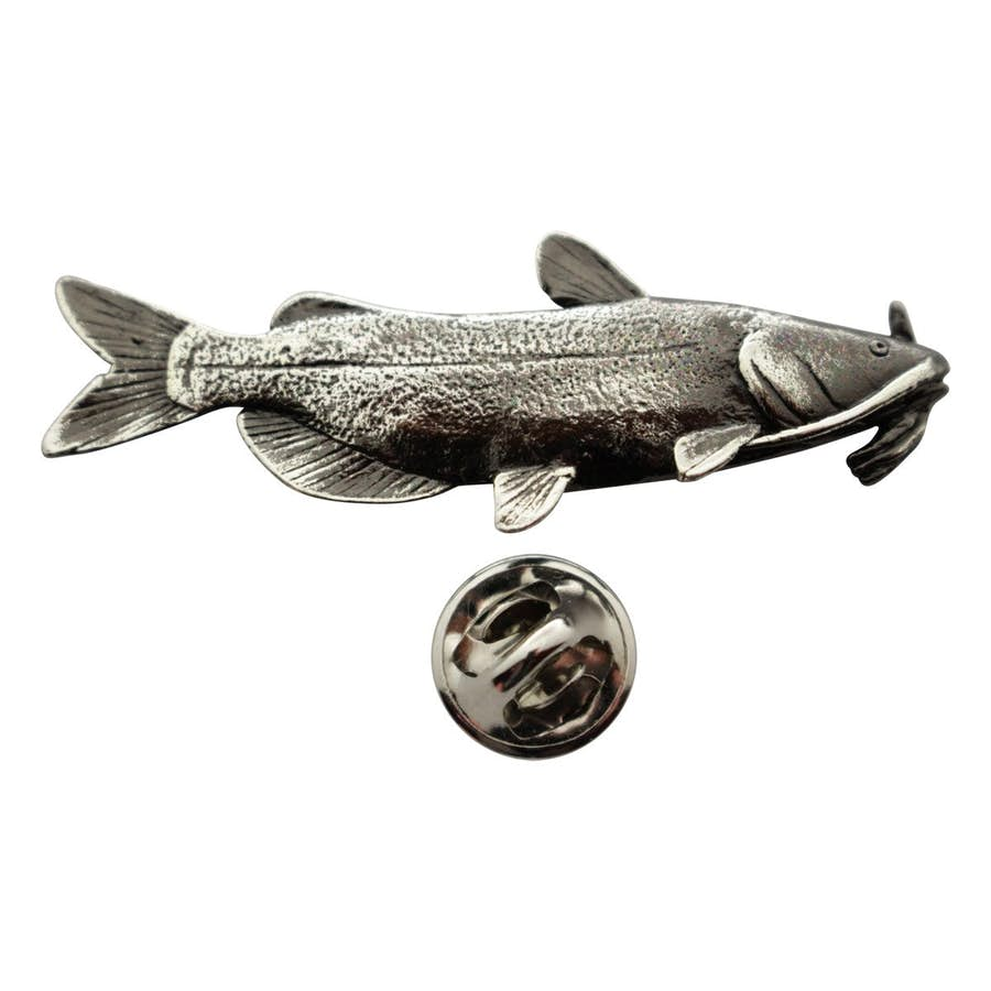 Channel Catfish Pin ~ Antiqued Pewter ~ Lapel Pin ~ Antiqued Pewter Lapel Pin ~ Sarah's Treats & Treasures
