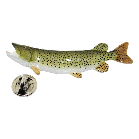 Muskellunge Pin ~ Hand Painted ~ Lapel Pin ~ Hand Painted Lapel Pin ~ Sarah's Treats & Treasures