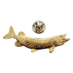 Northern Pike Pin ~ 24K Gold ~ Lapel Pin ~ 24K Gold Lapel Pin ~ Sarah's Treats & Treasures