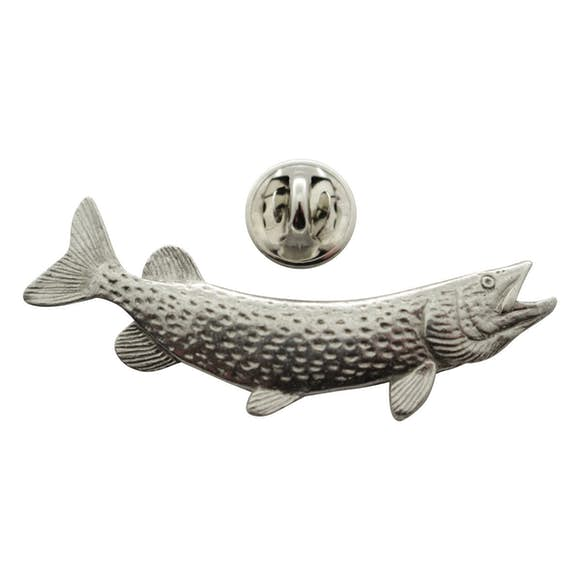 Northern Pike Pin ~ Antiqued Pewter ~ Lapel Pin ~ Sarah's Treats & Treasures