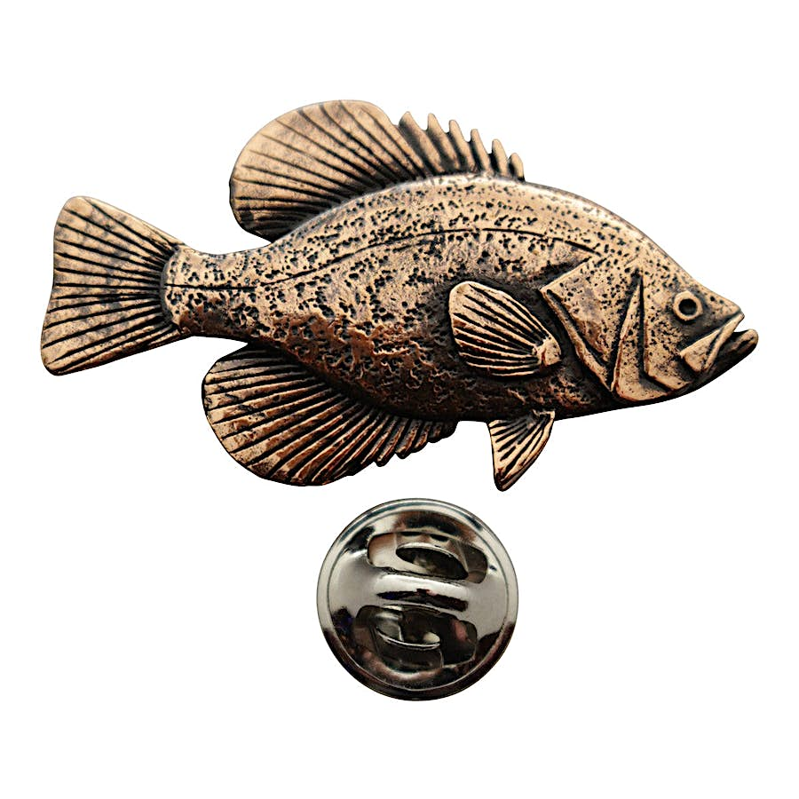 Black Crappie Pin ~ Antiqued Copper ~ Lapel Pin ~ Sarah's Treats & Treasures