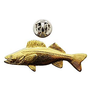 Walleye Pin ~ 24K Gold ~ Lapel Pin ~ 24K Gold Lapel Pin ~ Sarah's Treats & Treasures