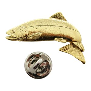 Jumping Atlantic Salmon Pin ~ 24K Gold ~ Lapel Pin ~ 24K Gold Lapel Pin ~ Sarah's Treats & Treasures