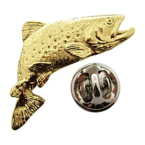 Jumping Brook Trout Pin ~ 24K Gold ~ Lapel Pin ~ 24K Gold Lapel Pin ~ Sarah's Treats & Treasures