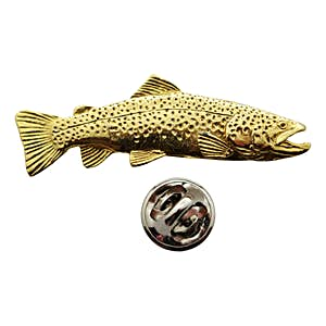 Brown Trout Pin ~ 24K Gold ~ Lapel Pin ~ Sarah's Treats & Treasures