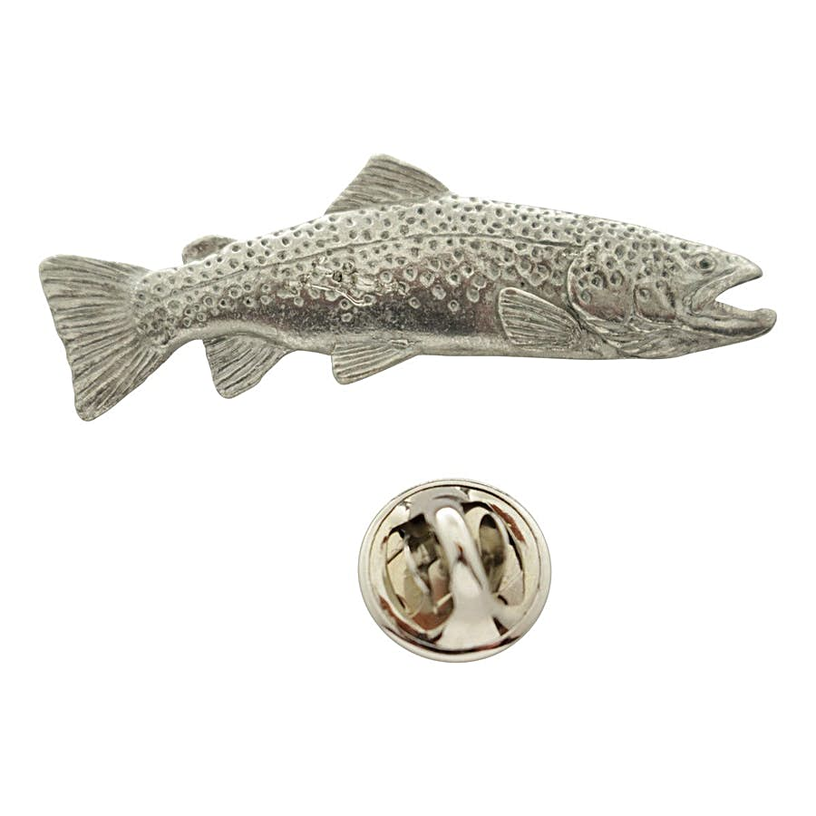 Brown Trout Pin ~ Antiqued Pewter ~ Lapel Pin ~ Sarah's Treats & Treasures
