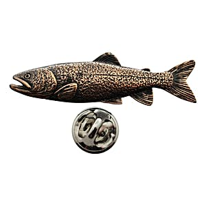 Lake Trout Pin ~ Antiqued Copper ~ Lapel Pin ~ Sarah's Treats & Treasures
