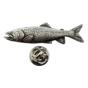 Lake Trout Pin ~ Antiqued Pewter ~ Lapel Pin ~ Sarah's Treats & Treasures