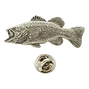 Largemouth Bass Pin ~ Antiqued Pewter ~ Lapel Pin ~ Sarah's Treats & Treasures