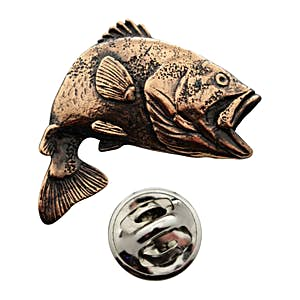 Jumping Largemouth Bass Pin ~ Antiqued Copper ~ Lapel Pin ~ Antiqued Copper Lapel Pin ~ Sarah's Treats & Treasures
