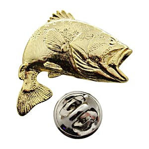 Jumping Largemouth Bass Pin ~ 24K Gold ~ Lapel Pin ~ 24K Gold Lapel Pin ~ Sarah's Treats & Treasures