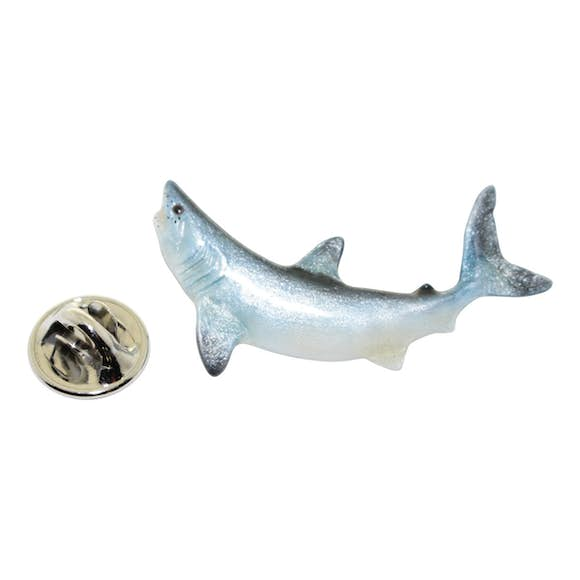 Mako Shark Pin ~ Hand Painted ~ Lapel Pin ~ Hand Painted Lapel Pin ~ Sarah's Treats & Treasures