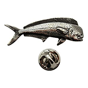 Dolphin Fish Pin ~ Antiqued Pewter ~ Lapel Pin ~ Sarah's Treats & Treasures