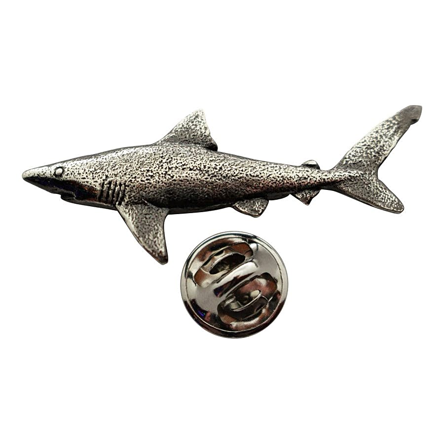Dusky Shark Pin ~ Antiqued Pewter ~ Lapel Pin ~ Sarah's Treats & Treasures