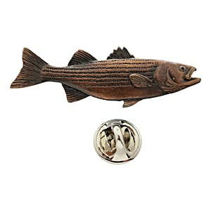 Striped Bass Pin ~ Antiqued Copper ~ Lapel Pin ~ Sarah's Treats & Treasures