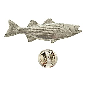 Striped Bass Pin ~ Antiqued Pewter ~ Lapel Pin ~ Sarah's Treats & Treasures