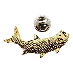 Right Facing Tarpon Fish Pin ~ 24K Gold ~ Lapel Pin ~ Sarah's Treats & Treasures