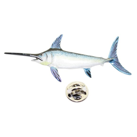 Swordfish Pin ~ Hand Painted ~ Lapel Pin ~ Hand Painted Lapel Pin ~ Sarah's Treats & Treasures
