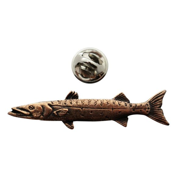 Barracuda Pin ~ Antiqued Copper ~ Lapel Pin ~ Sarah's Treats & Treasures