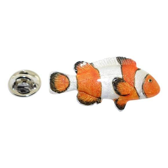 Clownfish Pin ~ Hand Painted ~ Lapel Pin ~ Hand Painted Lapel Pin ~ Sarah's Treats & Treasures