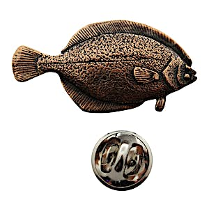 Flounder Pin ~ Antiqued Copper ~ Lapel Pin ~ Sarah's Treats & Treasures