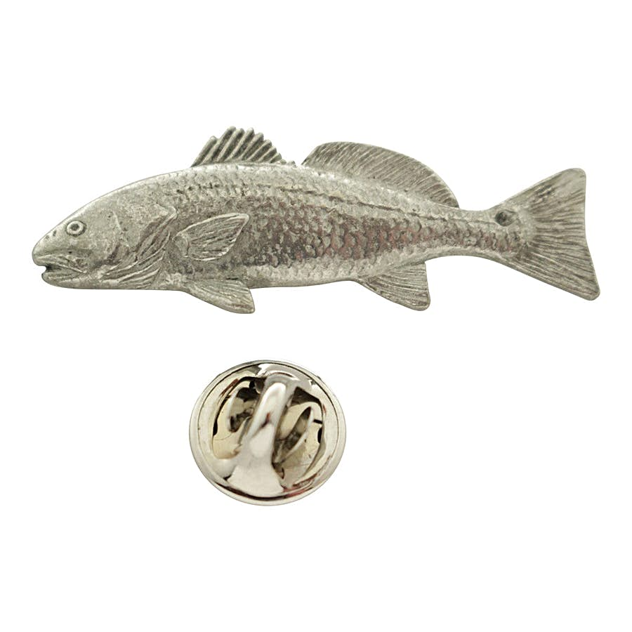 Red Fish Pin ~ Antiqued Pewter ~ Lapel Pin ~ Sarah's Treats & Treasures