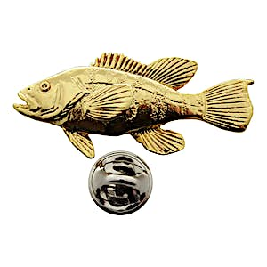 Sea Bass Pin ~ 24K Gold ~ Lapel Pin ~ 24K Gold Lapel Pin ~ Sarah's Treats & Treasures