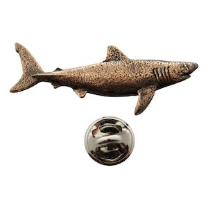 Great White Shark Pin ~ Antiqued Copper ~ Lapel Pin ~ Antiqued Copper Lapel Pin ~ Sarah's Treats & Treasures