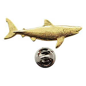 Great White Shark Pin ~ 24K Gold ~ Lapel Pin ~ 24K Gold Lapel Pin ~ Sarah's Treats & Treasures