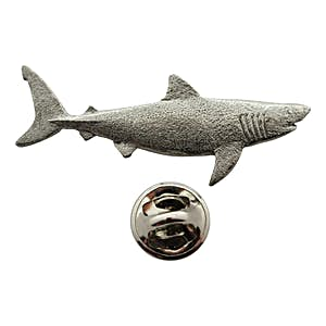 Great White Shark Pin ~ Antiqued Pewter ~ Lapel Pin ~ Sarah's Treats & Treasures