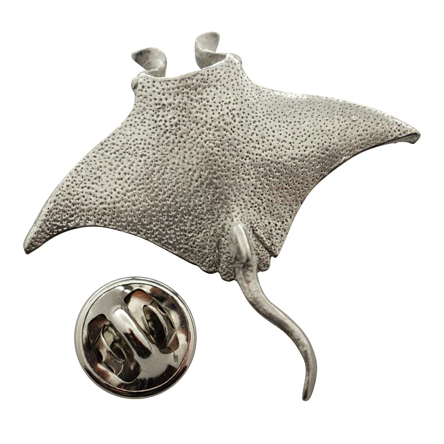Manta Ray Pin ~ Antiqued Pewter ~ Lapel Pin ~ Sarah's Treats & Treasures