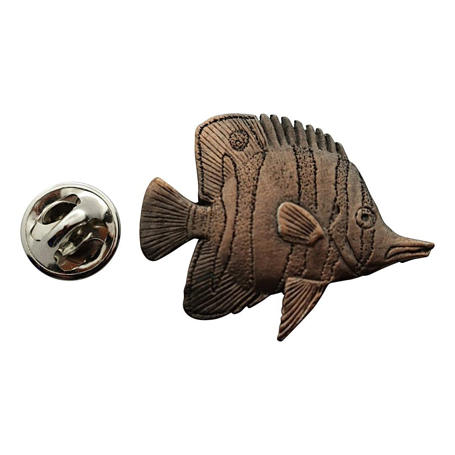 Butterfly Fish Pin ~ Antiqued Copper ~ Lapel Pin ~ Sarah's Treats & Treasures