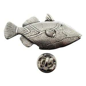 Triggerfish Pin ~ Antiqued Pewter ~ Lapel Pin ~ Sarah's Treats & Treasures