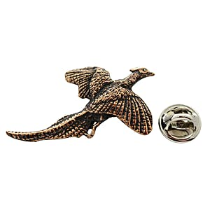 Flying Pheasant Pin ~ Antiqued Copper ~ Lapel Pin ~ Sarah's Treats & Treasures