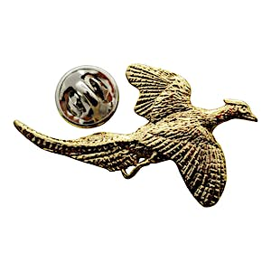 Pheasant Flying Pin ~ 24K Gold ~ Lapel Pin ~ 24K Gold Lapel Pin ~ Sarah's Treats & Treasures