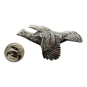 Ruffed Grouse Flying Pin ~ Antiqued Pewter ~ Lapel Pin ~ Sarah's Treats & Treasures