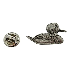 Hooded Merganser Pin ~ Antiqued Pewter ~ Lapel Pin ~ Sarah's Treats & Treasures