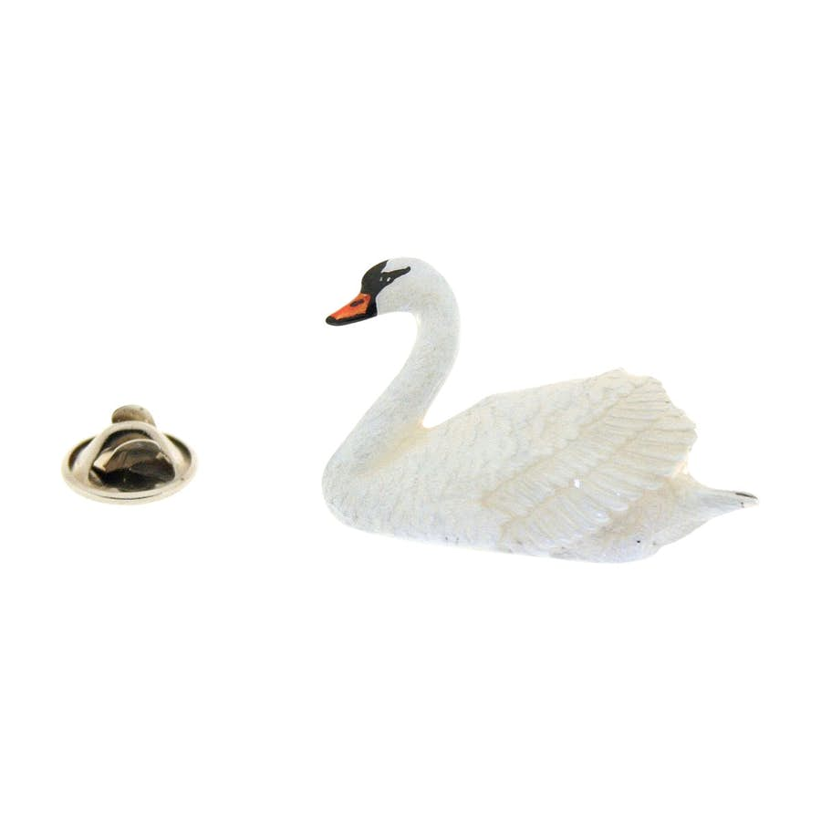 Swan White Pin ~ Hand Painted ~ Lapel Pin ~ Hand Painted Lapel Pin ~ Sarah's Treats & Treasures