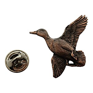 Mallard Flying Pin ~ Antiqued Copper ~ Lapel Pin ~ Sarah's Treats & Treasures