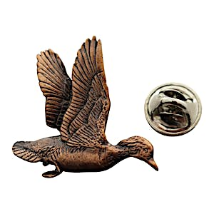 Wood Duck Flying Pin ~ Antiqued Copper ~ Lapel Pin ~ Sarah's Treats & Treasures