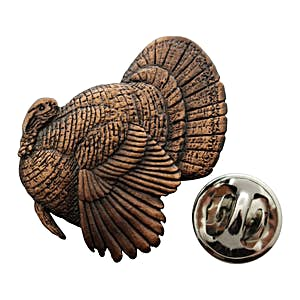 Strutting Turkey Pin ~ Antiqued Copper ~ Lapel Pin ~ Sarah's Treats & Treasures