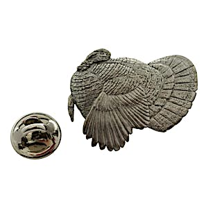 Turkey Pin ~ Antiqued Pewter ~ Lapel Pin ~ Sarah's Treats & Treasures