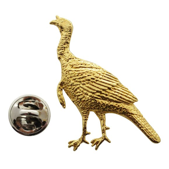 Alert Turkey Pin ~ 24K Gold ~ Lapel Pin ~ Sarah's Treats & Treasures