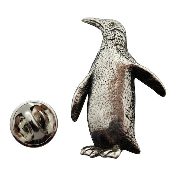 Penguin Pin ~ Antiqued Pewter ~ Lapel Pin ~ Sarah's Treats & Treasures