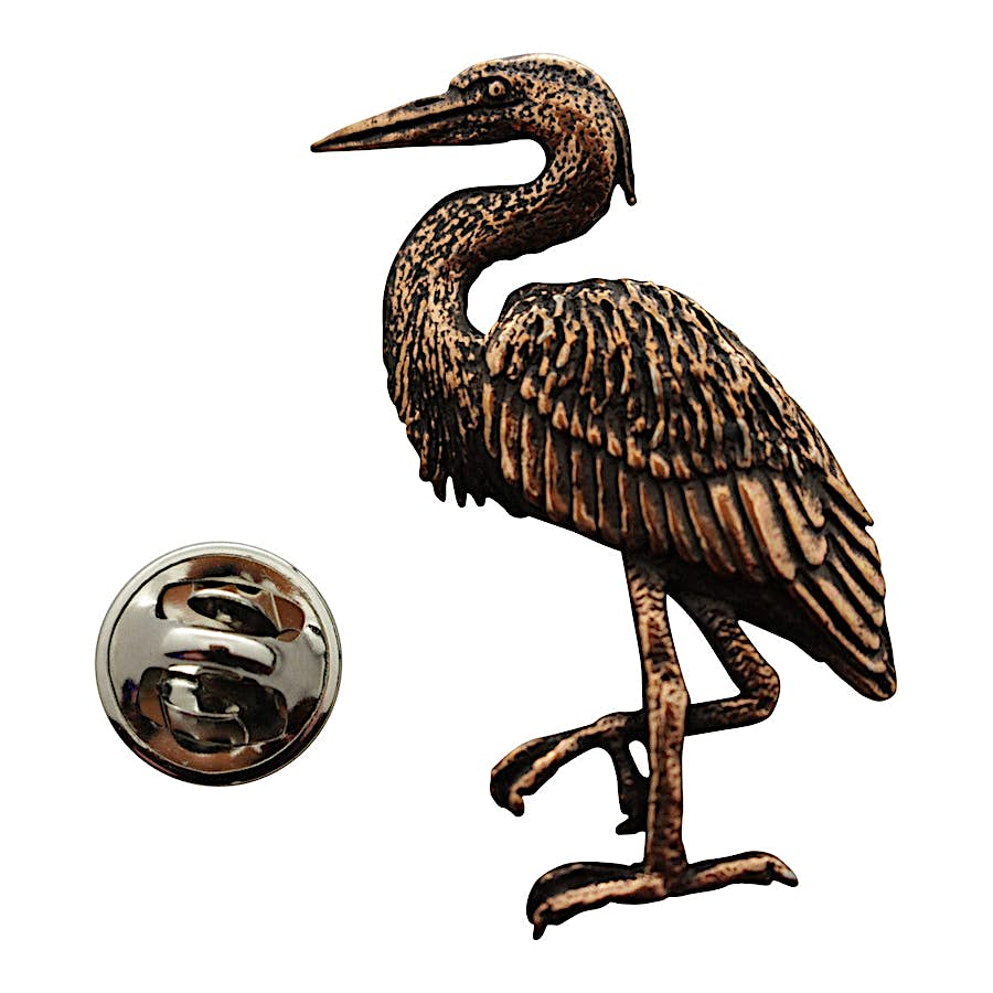 Blue Heron Pin ~ Antiqued Copper ~ Lapel Pin ~ Sarah's Treats & Treasures