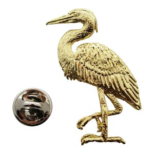 Blue Heron Pin ~ 24K Gold ~ Lapel Pin ~ Sarah's Treats & Treasures