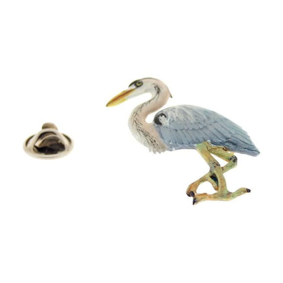 Blue Heron Pin ~ Hand Painted ~ Lapel Pin ~ Sarah's Treats & Treasures