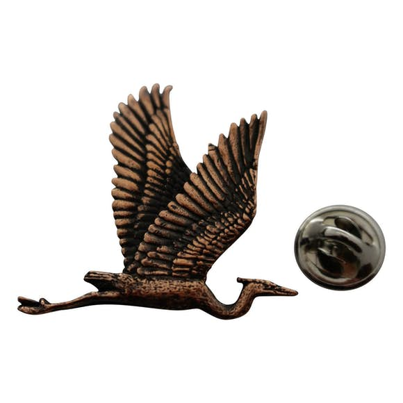 Blue Heron Flying Pin ~ Antiqued Copper ~ Lapel Pin ~ Sarah's Treats & Treasures