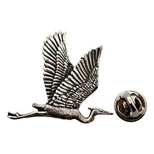 Blue Heron Flying Pin ~ Antiqued Pewter ~ Lapel Pin ~ Sarah's Treats & Treasures